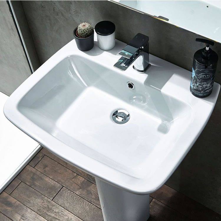 Frontline Piccolo 570mm Single Tap Hole Basin and Pedestal - Image 1