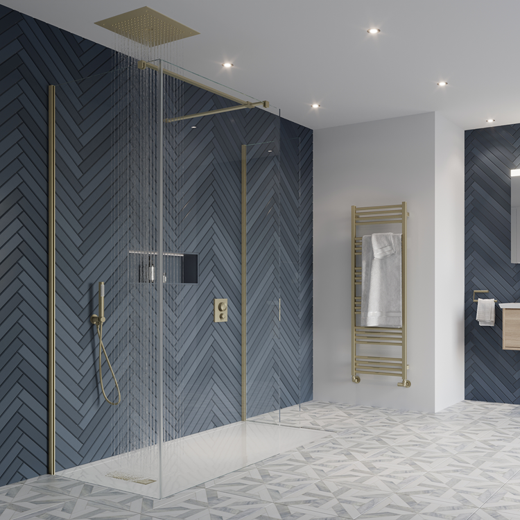 Lifestyle Photo of Crosswater Gallery 10 Brushed Brass Glass Corner Wetroom Screen