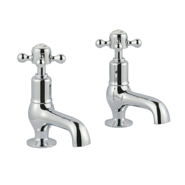Photo of JTP Grosvenor Cross Chrome Cloakroom Basin Taps Cutout - White Indices