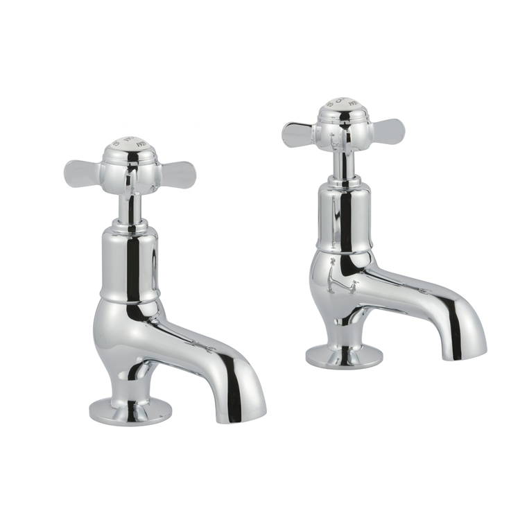 Photo of JTP Grosvenor Pinch Chrome Cloakroom Basin Taps White Indices