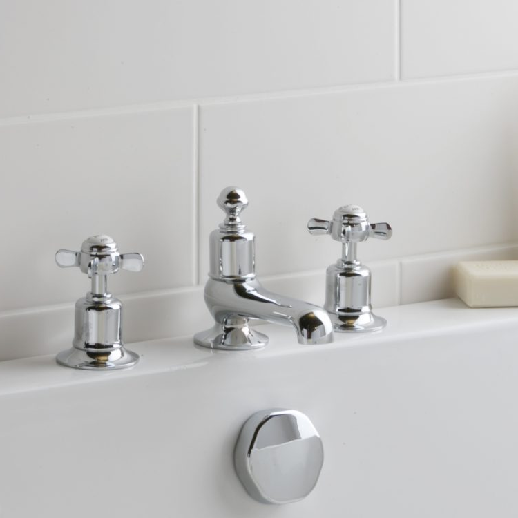 Photo of JTP Grosvenor Pinch Chrome 3TH Deck Mounted Basin Mixer Lifestyle Image