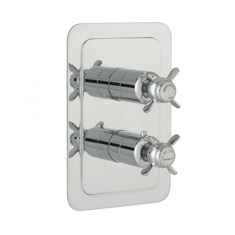 Photo of JTP Grosvenor Pinch Chrome Twin Outlet Thermostatic Shower Valve - White Indices