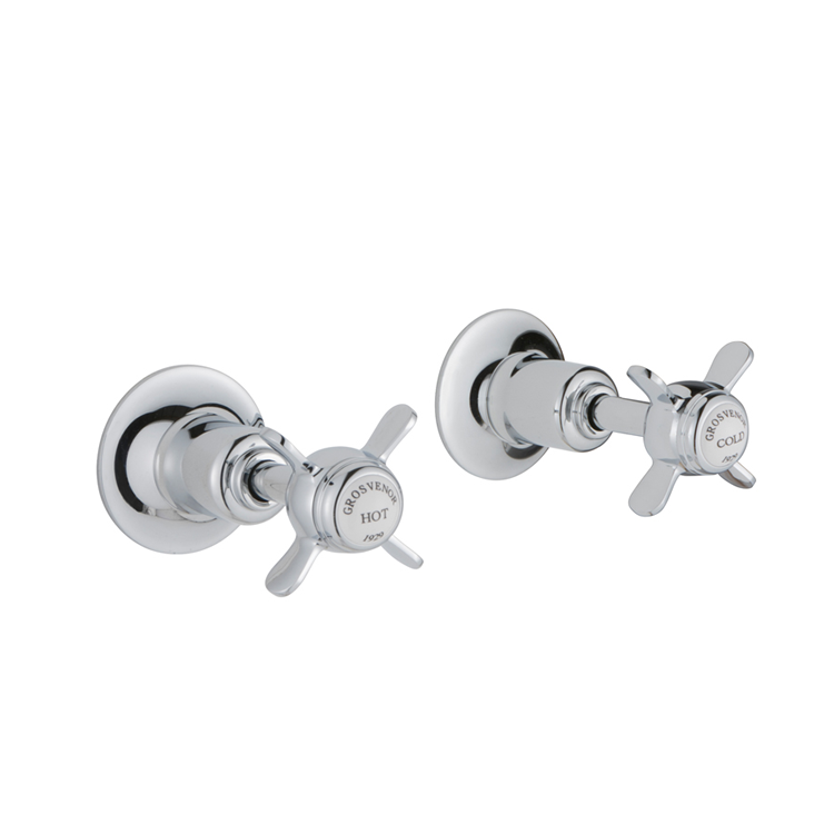 Photo of JTP Grosvenor Pinch Chrome Wall Mounted Valves Cutout - White Indices
