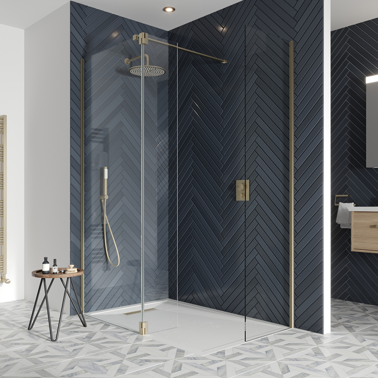 Photo of Crosswater Gallery 10 Brushed Brass Corner Wetroom Screen with Hinged Deflector