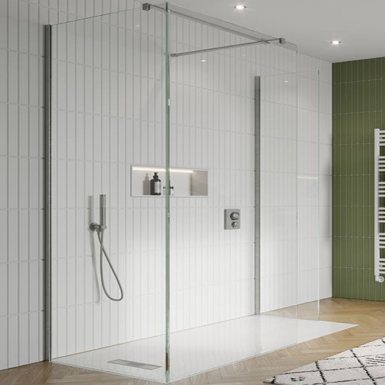 Image of Crosswater Gallery 10 Brushed Stainless Steel Glass Corner Wetroom screen - closeup shot with white tiled background