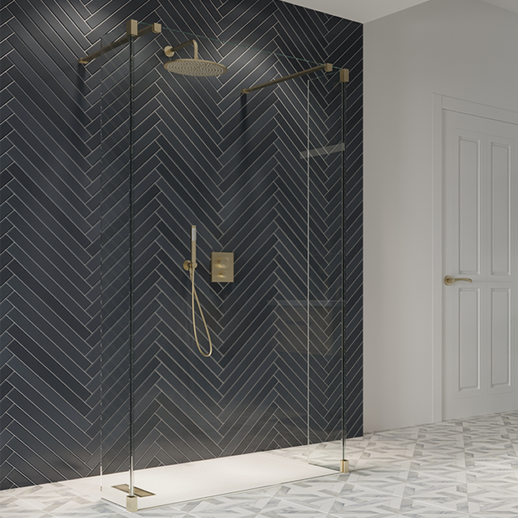 Lifestyle Photo of Crosswater Gallery 10 Brushed Brass Walk Through Wetroom Screen with Fixed Deflector Panels