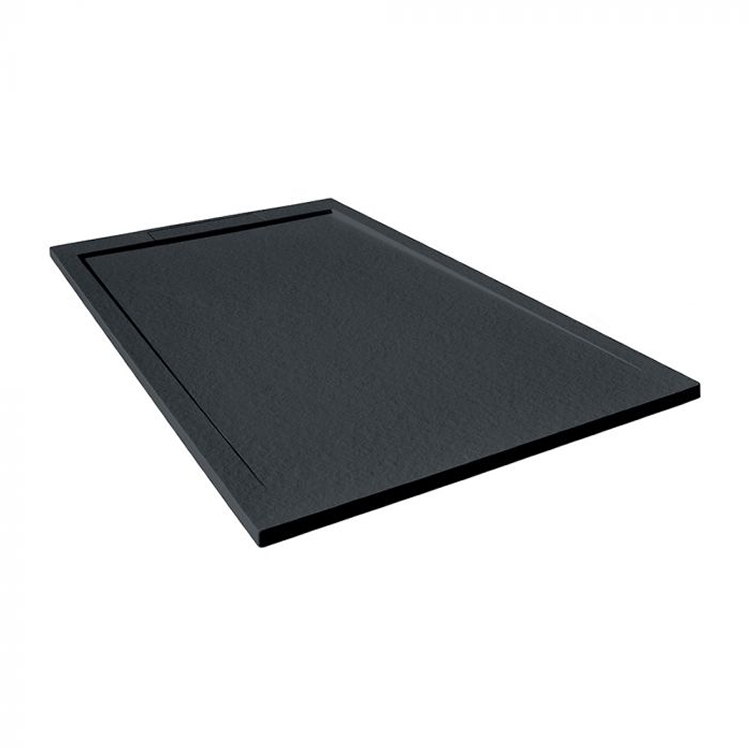 Photo of Tissino Giorgio Lux Black Slate Stone Resin 1000mm Shower Tray Angled View
