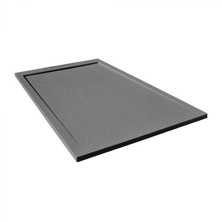 Photo of Tissino Giorgio Lux Grey Slate Stone Resin 800mm Shower Tray - Angled View