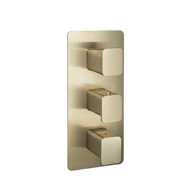 Photo of JTP Hix Brushed Brass Triple Outlet Thermostatic Shower Valve Cutout
