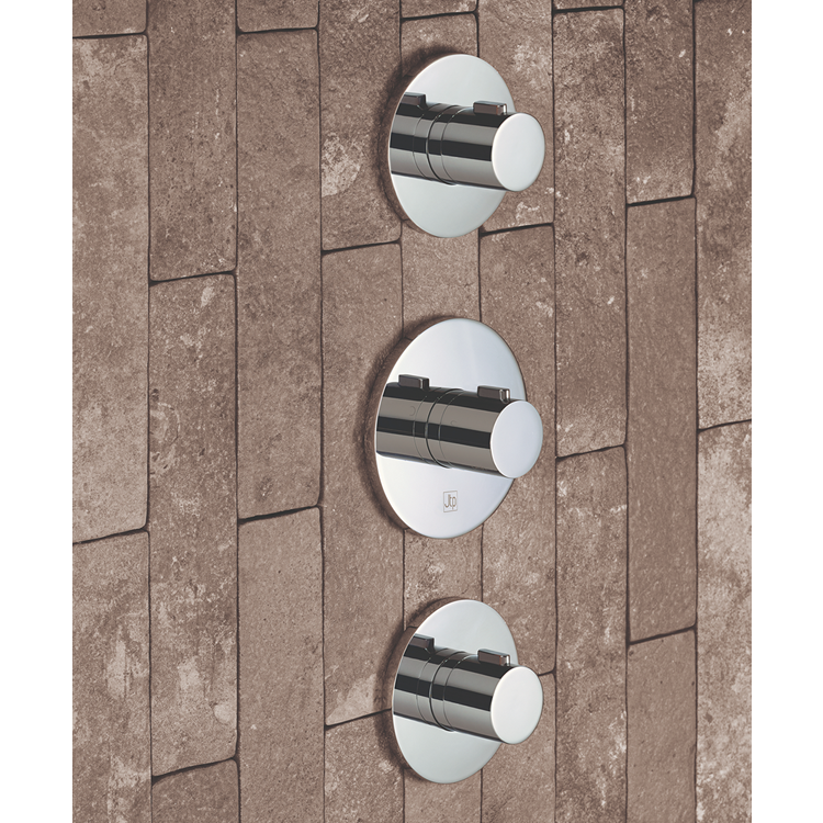 Lifestyle Photo of JTP Hugo Twin Outlet 3 Handle Round Thermostatic Shower Valve