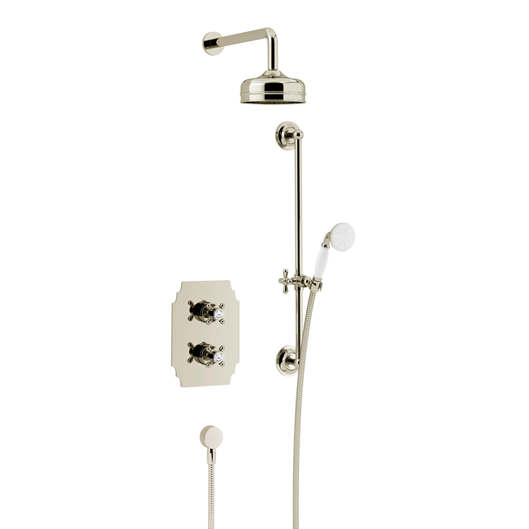 Photo of Heritage Hartlebury Vintage Gold Shower Kit with Fixed Head & Flexible Riser Kit