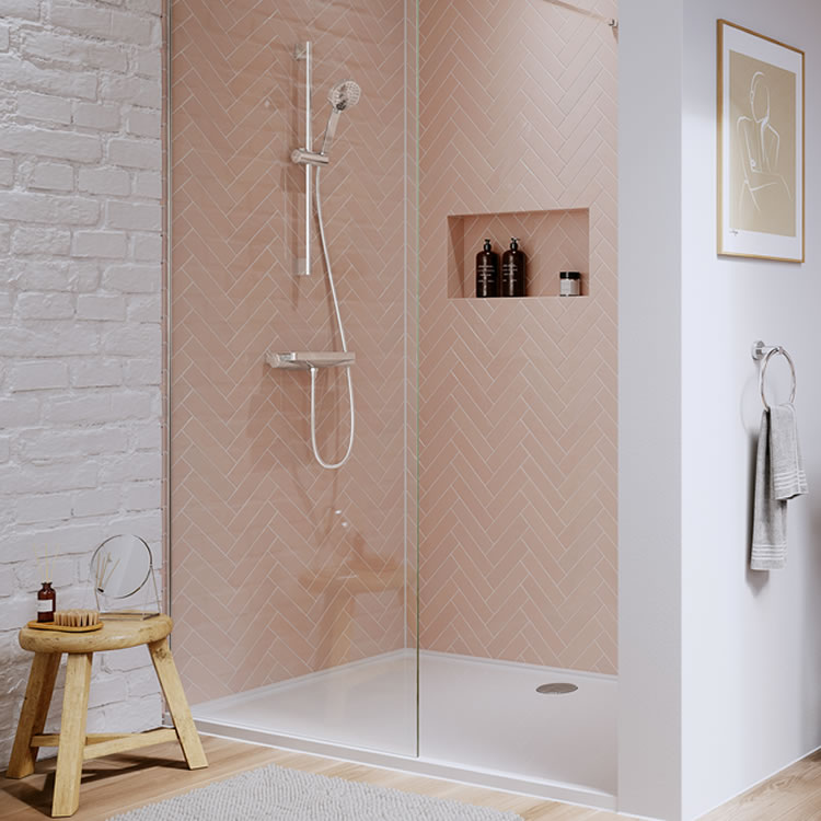 Photo of the Hoxton Thermo Shower Valve Body in Chrome with light pink tiles and exposed brick wall painted white