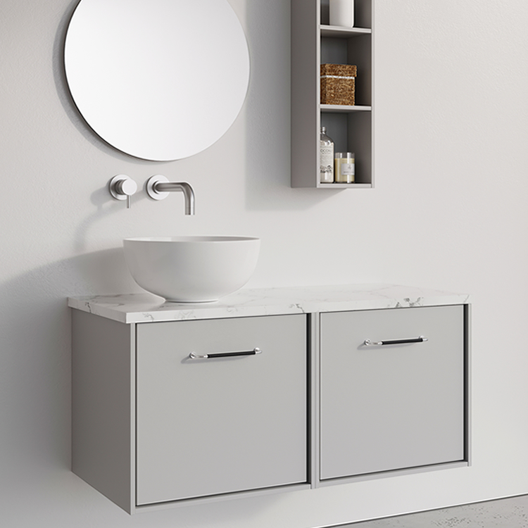 Photo of Crosswater Infinity 1000mm Storm Grey Double Drawer Unit with Marble Worktop