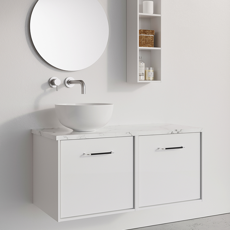 Photo of Crosswater Infinity 1000mm White Gloss Double Drawer Unit with Marble Worktop