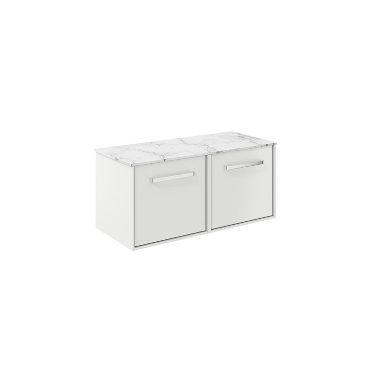 Photo of Crosswater Infinity 1000mm White Matt Double Drawer Unit with Carrara Marble Effect Worktop Cutout