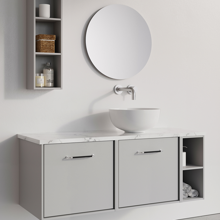 Photo of Crosswater Infinity 1200mm Storm Grey Twin Drawer & Single Base Unit with Marble Worktop
