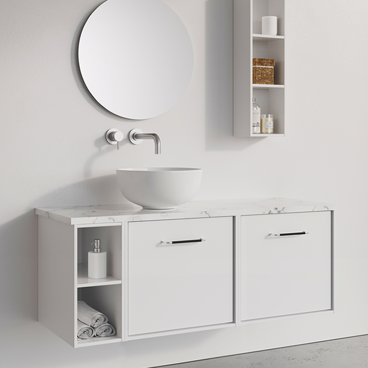Photo of Crosswater Infinity 1200mm White Gloss Twin Drawer & Single Base Unit with Marble Worktop