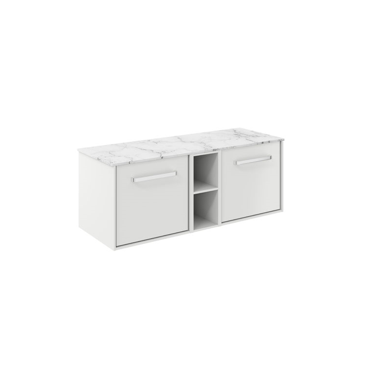 Photo of Crosswater Infinity 1200mm White Matt Twin Drawer & Single Base Unit with Marble Worktop Cutout
