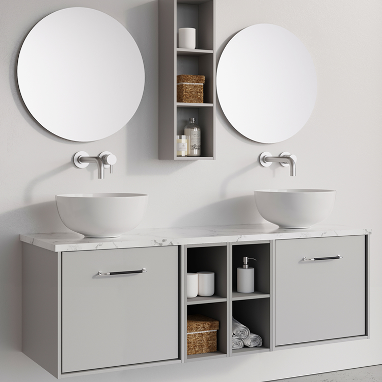 Photo of Crosswater Infinity 1400mm Storm Grey Double Drawer & Twin Base Unit with Marble Worktop