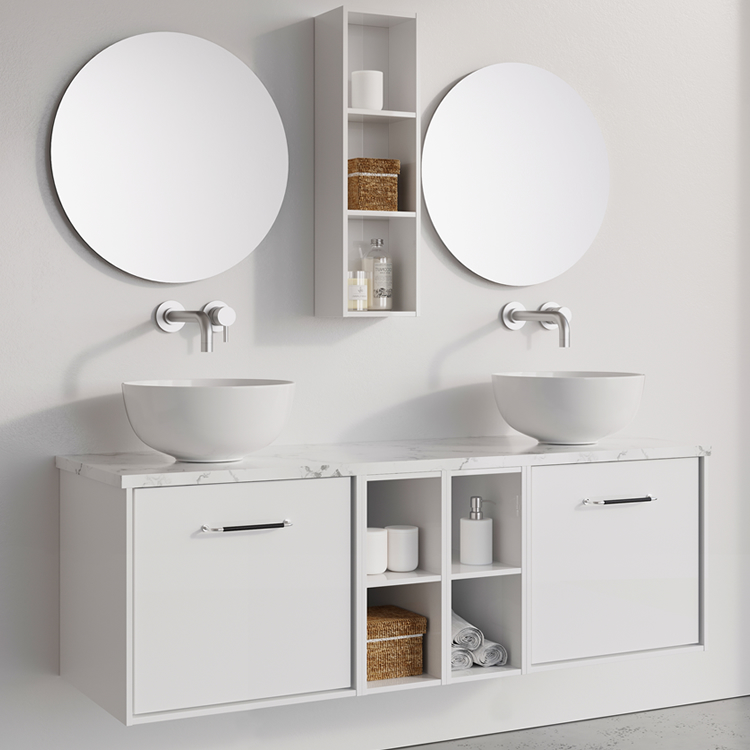 Photo of Crosswater Infinity 1400mmWhite Gloss Double Drawer & Twin Base Unit with Marble Worktop