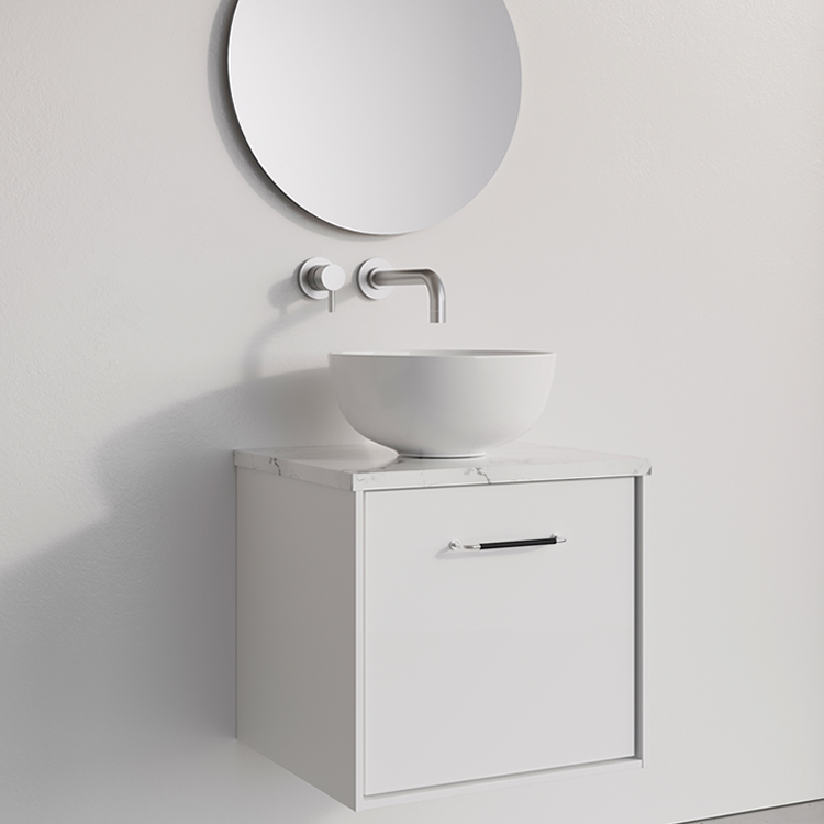 Photo of Crosswater Infinity 500mm White Gloss Single Drawer Unit & Worktop with Marble Worktop