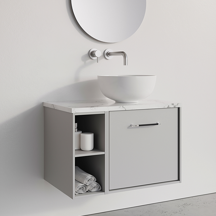 Photo of Crosswater Infinity 700mm Storm Grey Single Drawer & Base Unit with Marble Worktop