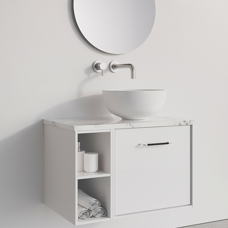 Photo of Crosswater Infinity 700mm White Gloss Single Drawer & Base Unit with Marble Worktop