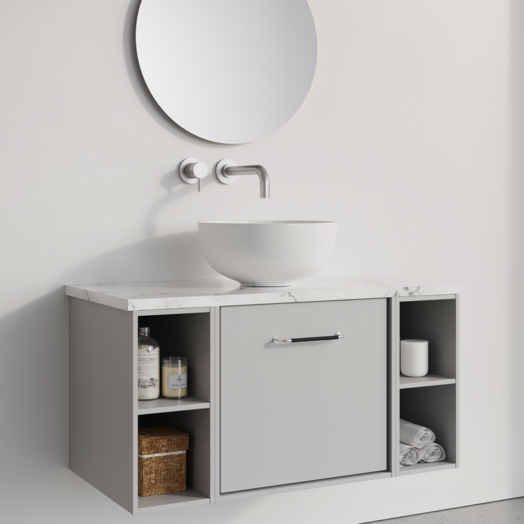 Photo of Crosswater Infinity 900mm Storm Grey Single Drawer & Double Base Unit with Marble Worktop