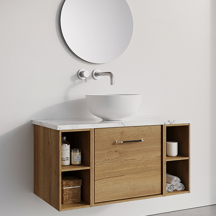 Photo of Crosswater Infinity 900mm Windsor Oak Single Drawer & Double Base Unit with Marble Worktop