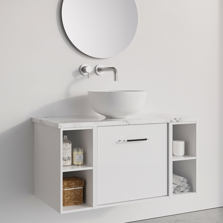 Photo of Crosswater Infinity 900mm White Gloss Single Drawer & Double Base Unit and Marble Unit