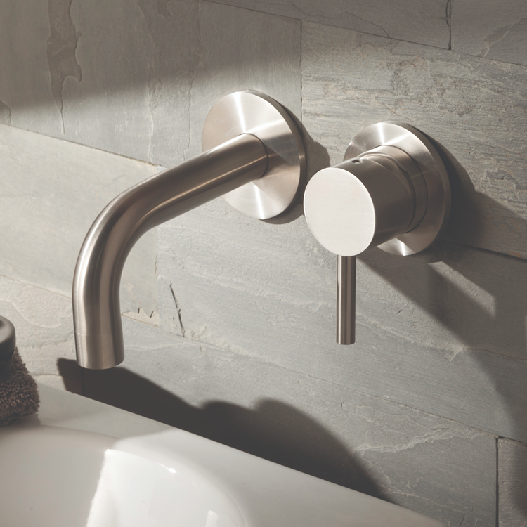 Lifestyle Photo of JTP Inox Brushed Stainless Steel 2TH Wall Mounted Basin Mixer