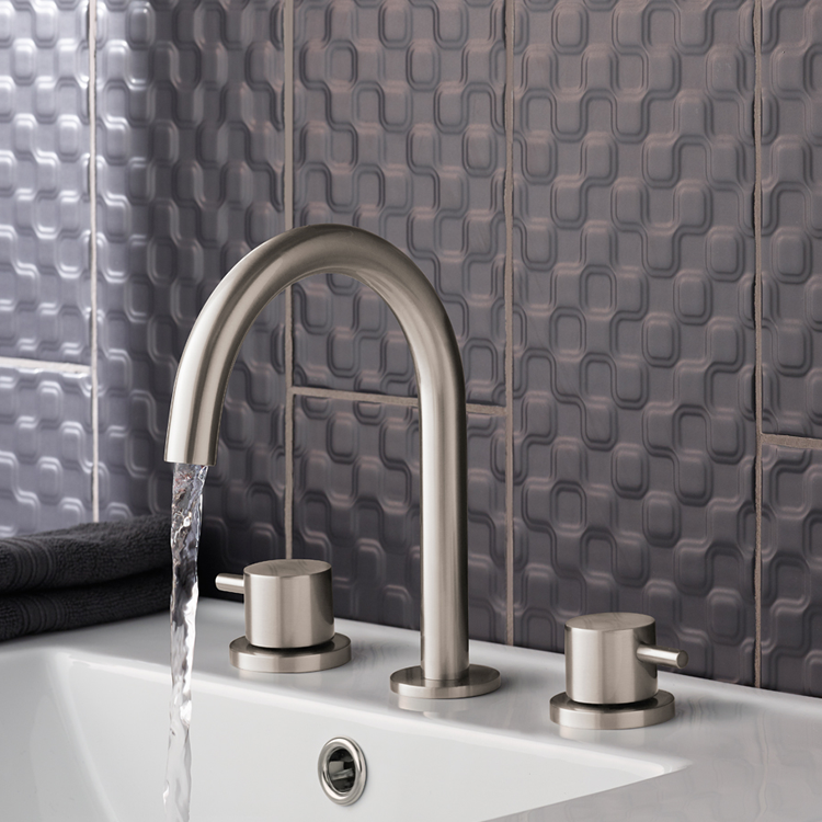 Lifestyle Photo of JTP Inox Brushed Stainless Steel 3TH Deck Mounted Basin Mixer