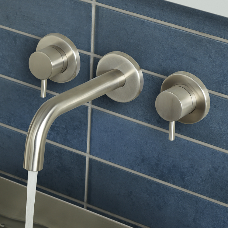Lifestyle Photo of JTP Inox Brushed Stainless Wall Mounted 3TH Basin Mixer