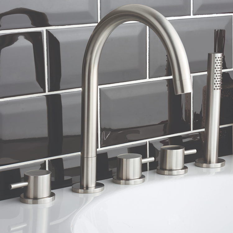 Lifestyle Photo of JTP InoxBrushed Stainless Steel 5TH Bath Shower Mixer