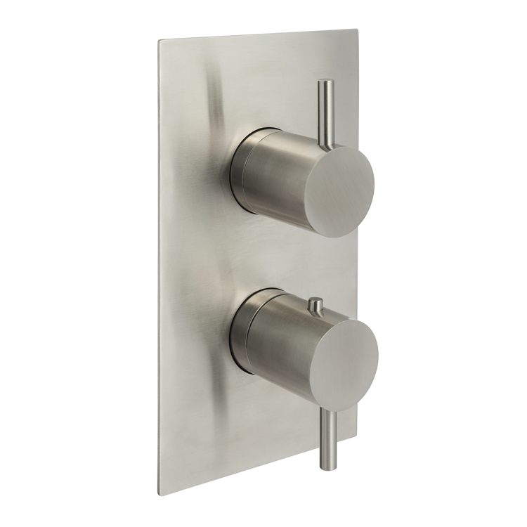 Photo of JTP Inox Brushed Stainless Steel Triple Outlet Shower Valve Cutout