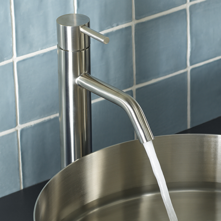 Lifestyle Photo of JTP Inox Brushed Stainless Steel Tall Basin Mixer