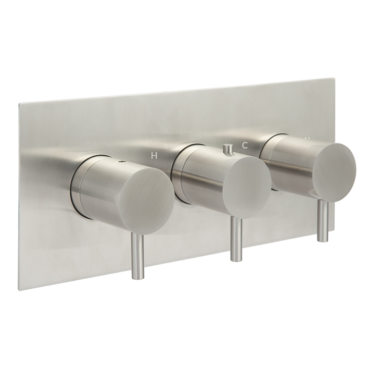 Photo of JTP Inox Brushed Stainless Steel Landscape Triple Outlet Shower Valve Cutout