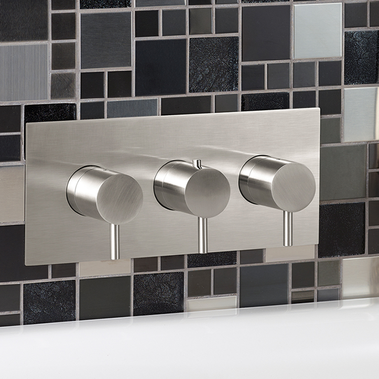 Photo of JTP Inox Brushed Stainless Steel Landscape Two Outlet Shower Valve Lifestyle