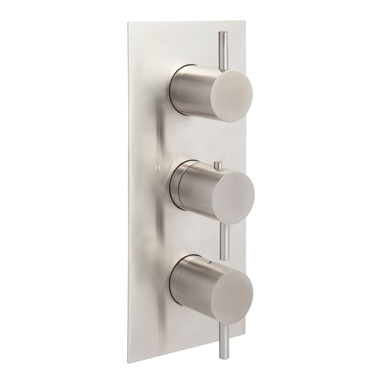 Photo of JTP Inox Brushed Stainless Steel Portrait Triple Outlet Shower Valve Cutout