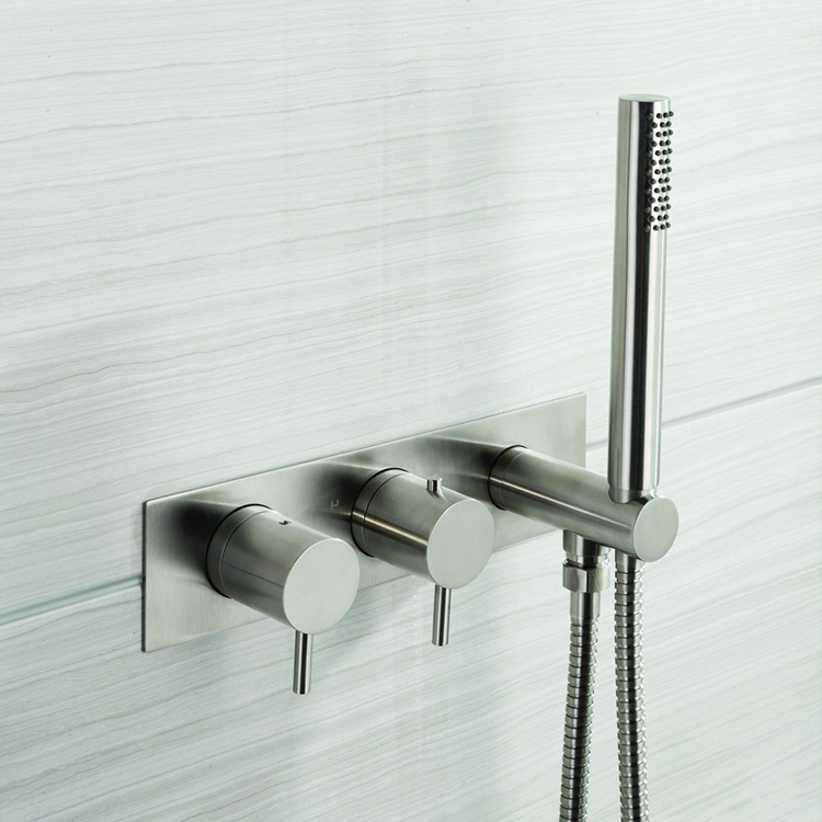 Lifestyle Photo of JTP Inox Brushed Stainless Steel Bath Shower Mixer with Handset