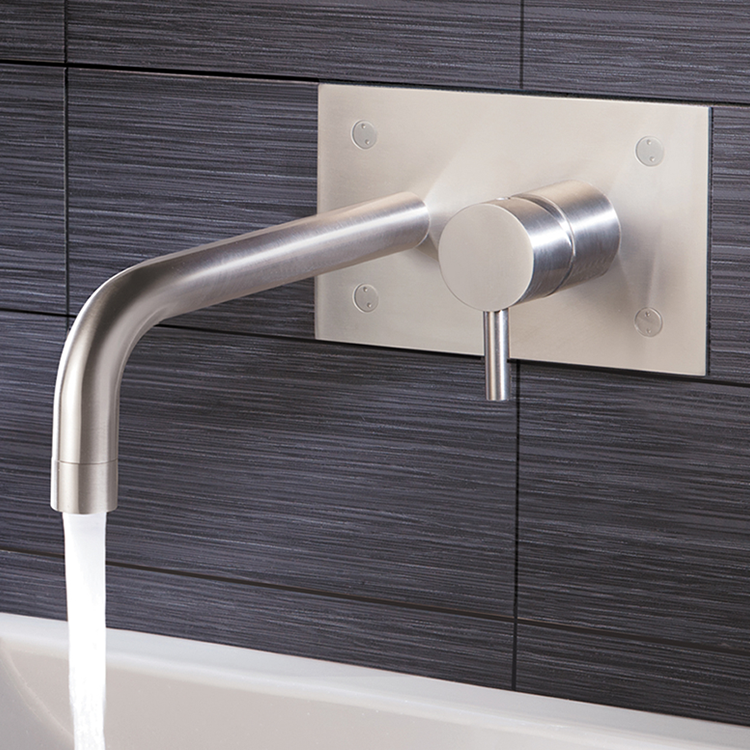 Lifestyle Photo of JTP Inox Brushed Stainless Steel Wall Mounted Basin Mixer