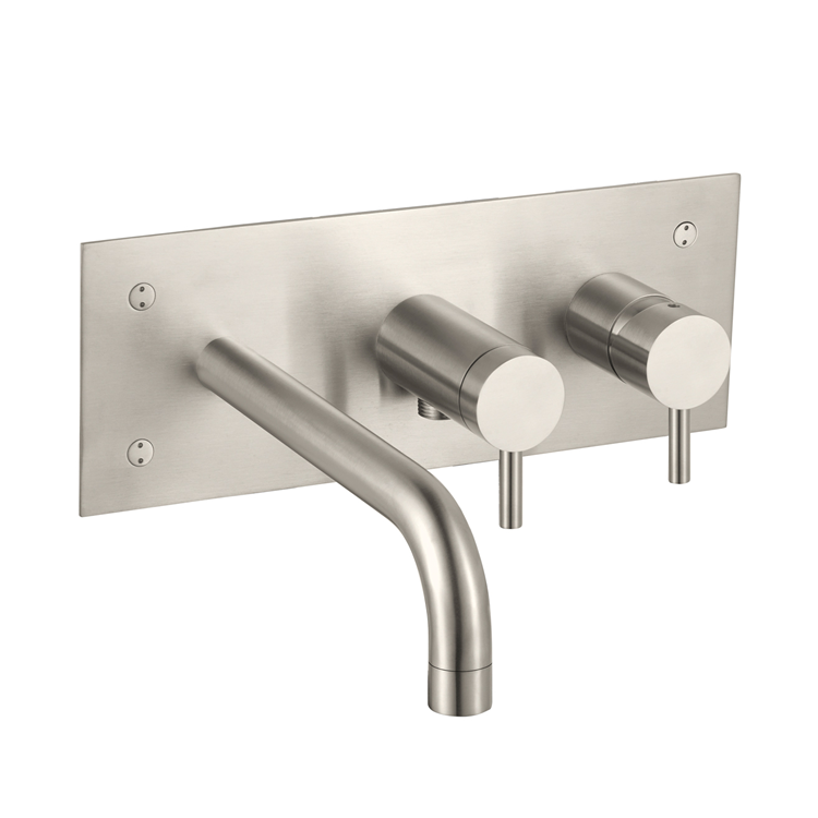 Photo of JTP Inox Brushed Stainless Steel Wall Mounted Bath Shower Mixer Cutout
