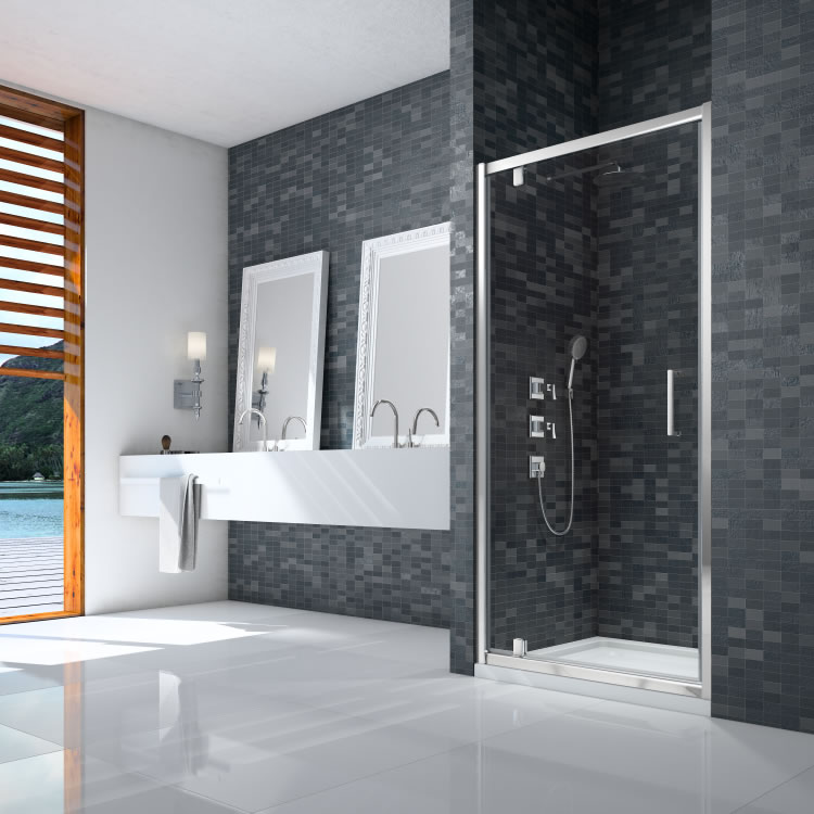 Ionic By Merlyn Essence Framed Pivot Door Lifestyle Image