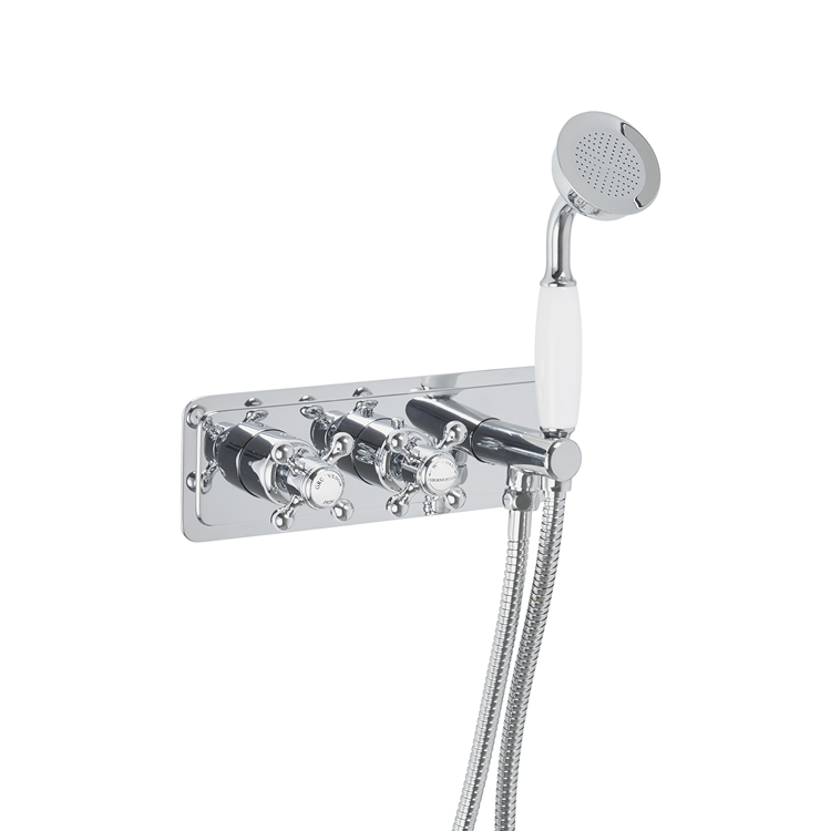 Photo of JTP Grosvenor Cross Thermostatic Valve with Handset - White Indices Cutout
