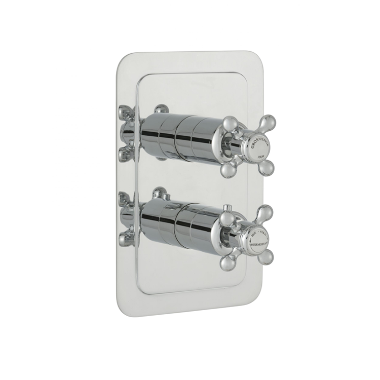 Photo of JTP Grosvenor Cross Two Outlet Thermostatic Shower Valve - White Indices