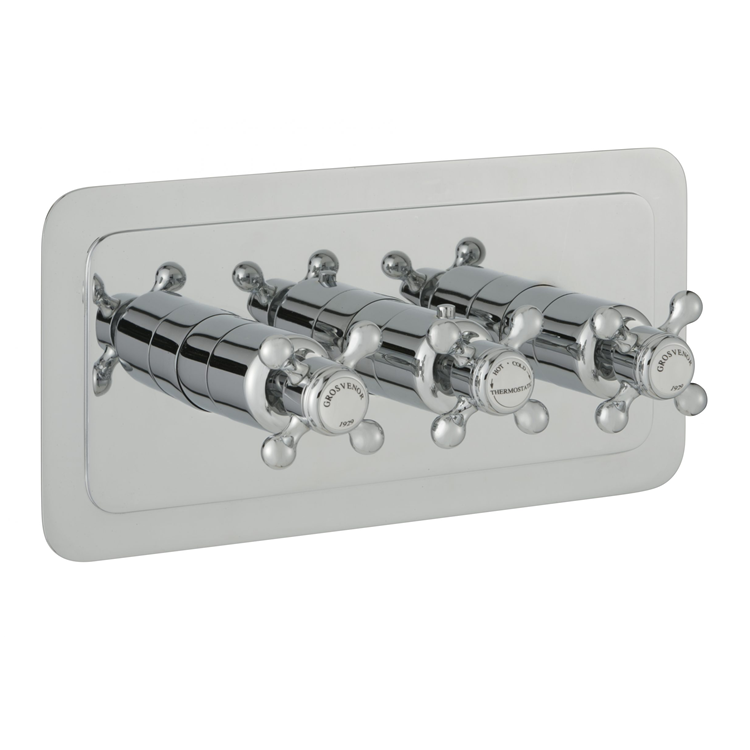 Photo of JTP Grosvenor Cross Three Outlet Landscape Thermostatic Shower Valve - White Indices