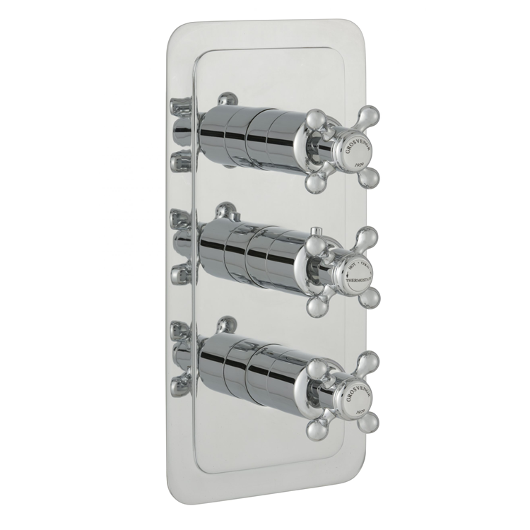 Photo of JTP Grosvenor Cross Two Outlet Portrait Thermostatic Shower Valve - White Indices Cut Out