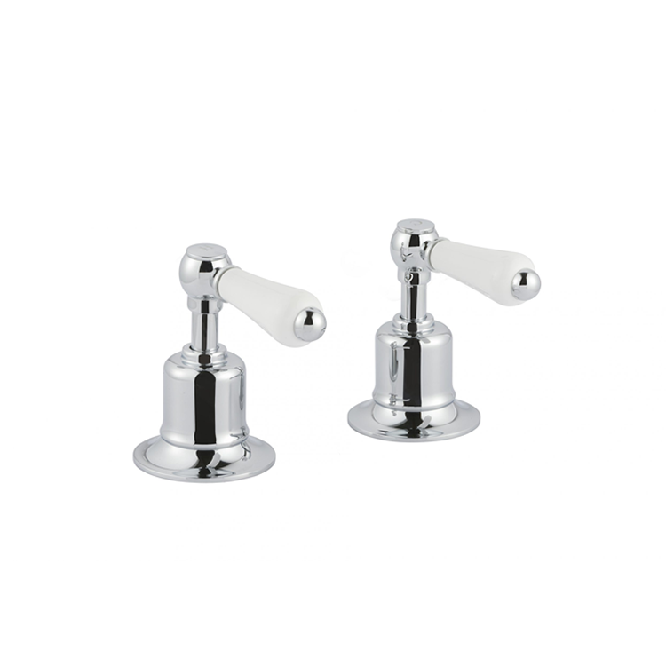 Photo of JTP Grosvenor Lever Chrome Deck Mounted Panel Valves Cutout - White Levers
