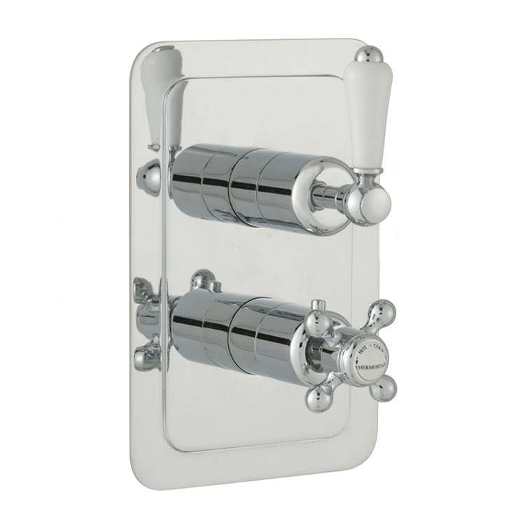 Photo of JTP Grosvenor Lever Chrome Single Outlet Concealed Shower Valve - White Cutout