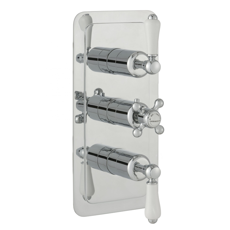 Photo of JTP Grosvenor Lever Three Outlet Portrait Thermostatic Shower Valve - White Lever Cutout